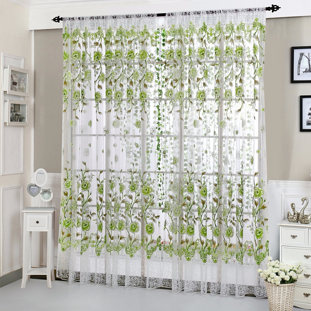 100 * 200CM House Living Room Office Fashion Flower Print Curtains ...