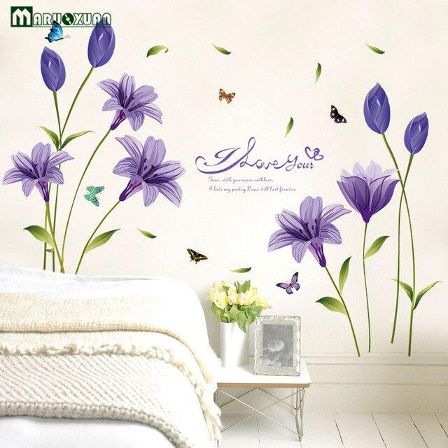 Maruoxuan Neue Heiße Lila Lilie Blume Abnehmbare Vinyl Aufkleber  Wandaufkleber Wohnzimmer Schlafzimmer Dekoration Tapete