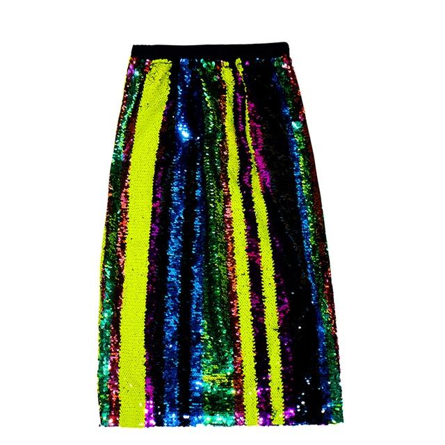 Lady Knee Length Glitter Rainbow Skirts Bling Shine Sequin Rainbow Hologram  Pencil Midi Skirt Women Paillette Half-body Shine 1b5424614934