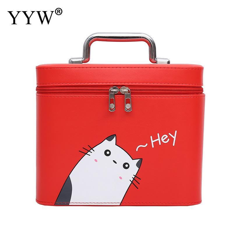 Leather Handbag Cosmetic Bag Cute Cat Makeup Storage Box For Travel Woman Trousse Maquillage Femme Organisateur De Sac A Main