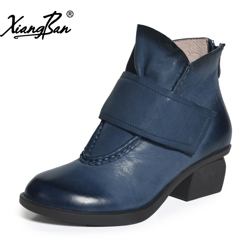 Xiangban leather women ankle boots fashion casual round toe ladies short boots 2018 spring autumn winter shoes 2017 xiangban women ankle boots handmade genuine leather woman short boots spring autumn round toe female footwear