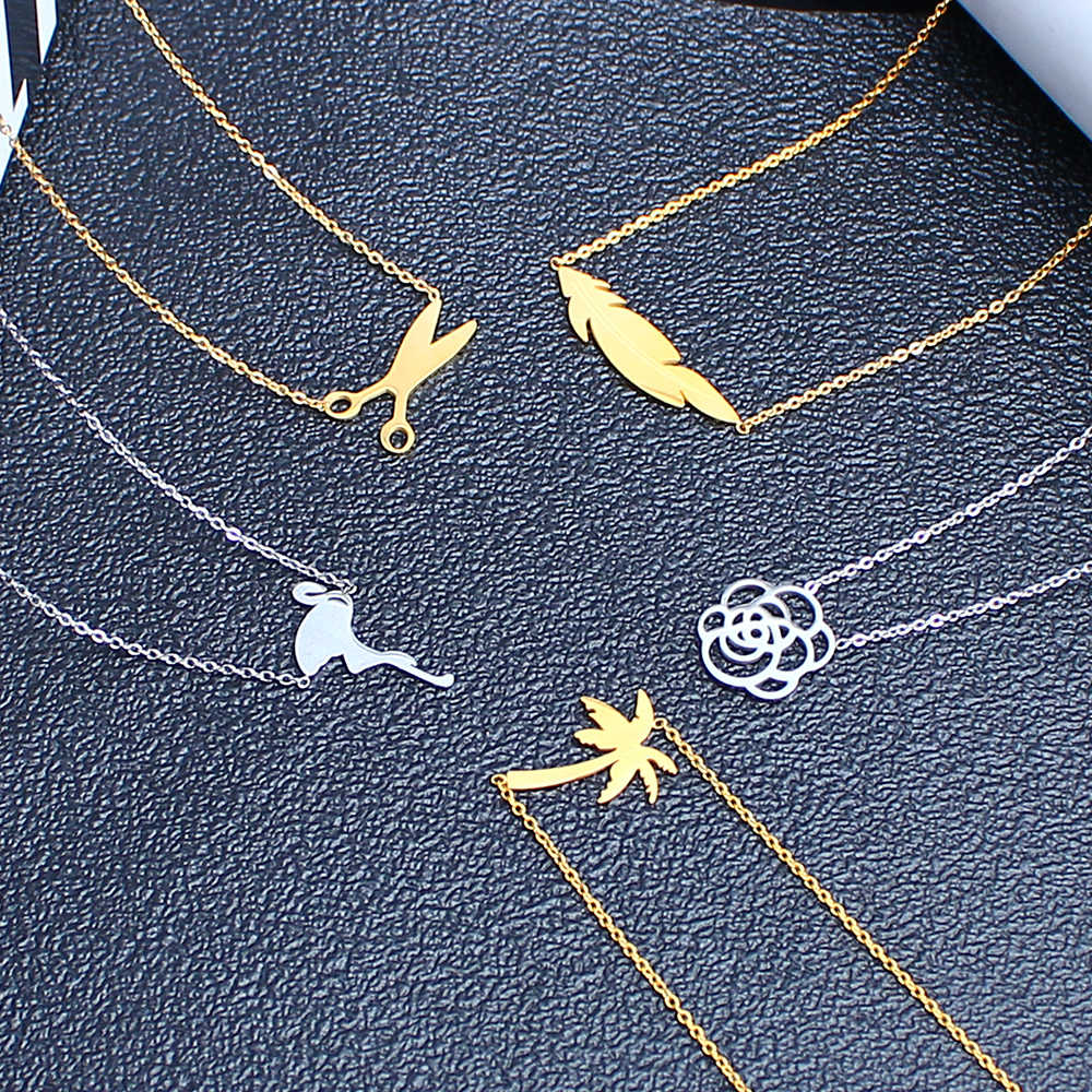 SHE WEIER fashion stainless steel pendant necklace chain jewelry  for women choker female best friends neckless silver angel