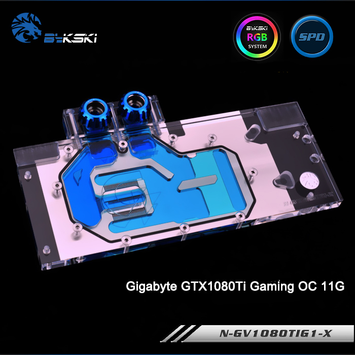 Bykski N-GV1080TIG1-X Full Cover Graphics Card Water Cooling Block RGB/RBW/ARUA for Gigabyte GTX1080Ti Gaming OC 11G new original graphics card cooling fan for gigabyte gtx770 4gb gv n770oc 4gb 6 heat pipe copper base