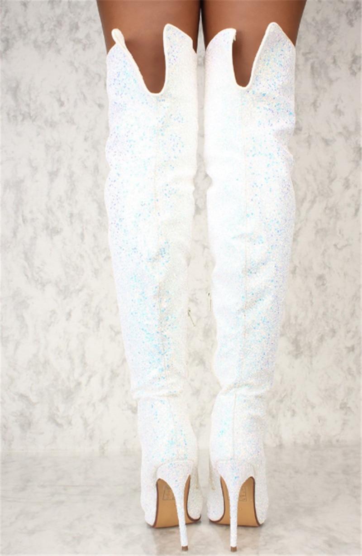 As Lucido Tacchi Sexy Sopra Sottile Glittering Alta Scarpe Coscia Nuovo Bling Stivali Lunghi Da Ginocchio Fit Del Pic Di Arrivo Della Il Donna Vestito pwazOB
