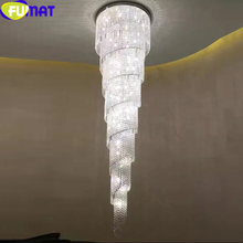FUMAT Modern K9 Crystal Chandeliers LED Spiral Living Room Hanglamp lustre led light Staircase Hotel Suspension Hanging Light new arrival k9 crystal pendant light modern fashion single light led dining room hotel project lustre suspension drop light