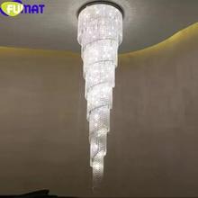 FUMAT Modern K9 Crystal Chandeliers LED Spiral Living Room Hanglamp lustre led light Staircase Hotel Suspension Hanging Light