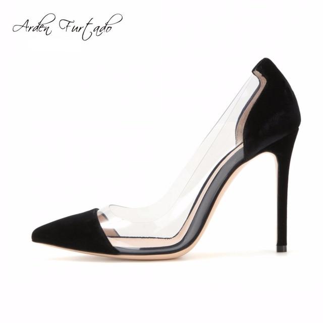 e8c766de3a27 Arden Furtado new 2017 summer slip on elegant PVC pumps sexy high heels  stiletto clear shoes for woman nude blue sandals women