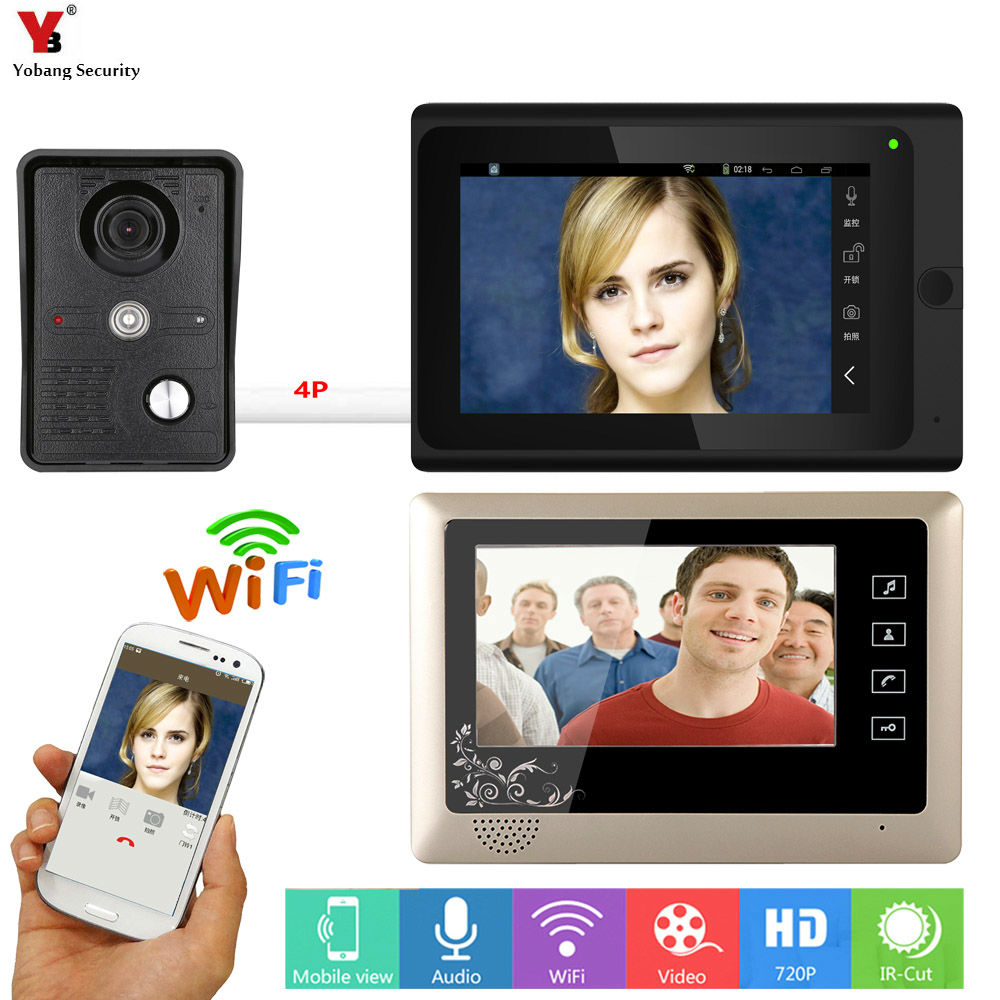 SmartYIBA 7 inch 2 Monitors Wired /Wireless Wifi Video Door Phone Doorbell Intercom System with Wired Camera Night Vision