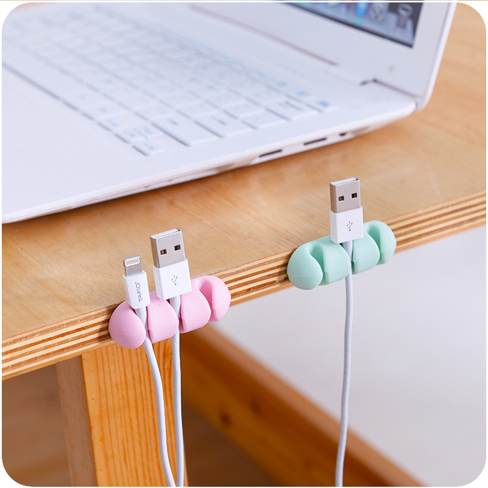 2PcsSet Wire Wrap Holder Rack Wall Mounted Headphone Charging Cable Storage Racks Silicone Headset Cord Winder Organizer F1218