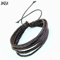 Fashion Jewelry Wrap Multilayer Leather Bracelet With Braided Rope Unisex For Men Women