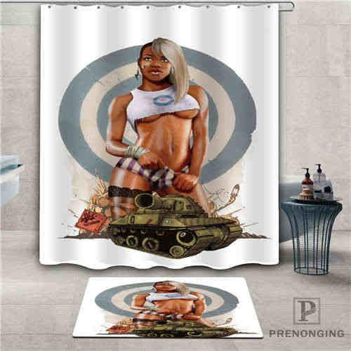 Custom pin-up-girl (2) Waterproof Shower Curtain  Doormat Home Bath Bathroom  Polyester Fabric Multi Sizes#2019-1-05-69