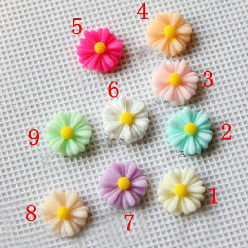 100pcs 13mm 9 color optional Daisy flower resin flatback convex circular scrapbooks DIY phone shell / hair decoration 009005012