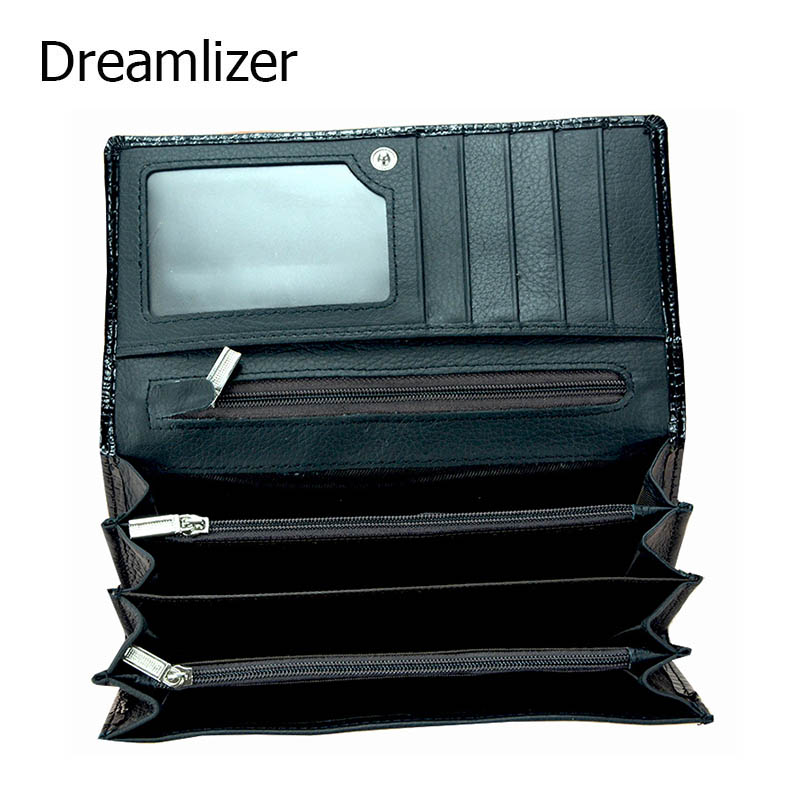 Dreamlizer Women Soft Leather Crocodile Wallet Women Bifold Genuine Leather Female Purse Zipper Coin Purse Lady Card Holder japan anime katekyo hitman reborn wallet cosplay men women bifold coin purse