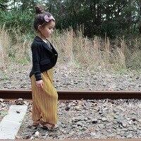 Dễ thương! 2017 Autumn/Winter Cô Gái Vàng Nhung Váy Little cô gái Xếp Li Váy Khoác 2-7Y Trẻ Mới Biết Đi Màu Xám Dài Váy Mắt Cá Chân-chiều dài