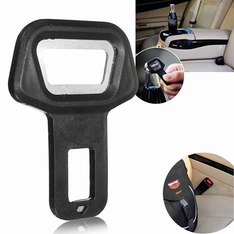 ユニバーサルアルミ合金黒 2in1 車の安全シートベルトバックルボトルオープナー警報エリミネーターストッパーキャンセラー自動ファスナー