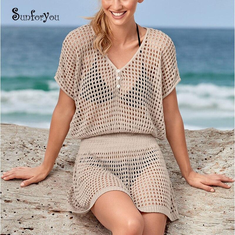 Трикотажный пляжный купальный костюм Туника саронг, белый пляжный купальный костюм, пляжный купальный костюм, накидка, пляжная одежда|Пляжная одежда|   | АлиЭкспресс