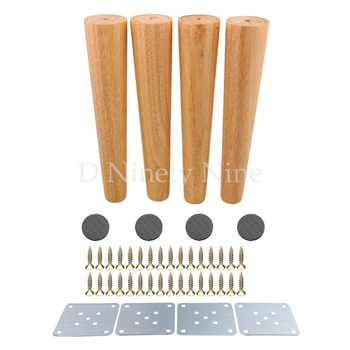 Natural Wood Reliable 300x58x38mm Wood Furniture Leg Cone Shaped Wooden Feet for Cabinets Soft Table Set of 4 - DISCOUNT ITEM  20% OFF All Category