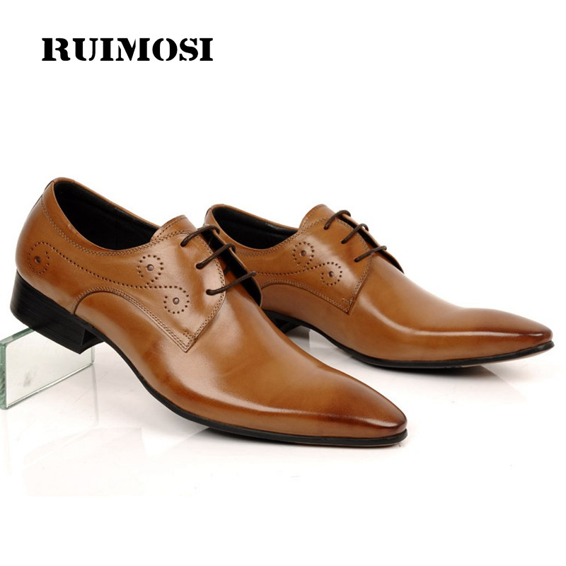 RUIMOSI New Designer Brand Man Formal Dress Wedding Shoes Genuine Leather Derby Oxfords Pointed Toe Men's Flats For Bridal BD55