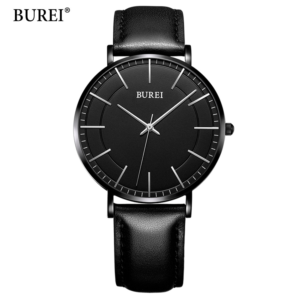 BUREI Top Brand Creative Quartz Watch Men Luxury Casual Black Japan quartz-watch Simple Designer Fashion Strap Clock Male New burei top brand creative quartz watch men luxury casual black japan quartz watch simple designer fashion strap clock male new