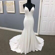 Plain Ivory Mermaid Wedding Dress 2020 Spaghetti Straps Sweetheart Bow Knot Ribbon Chapel Train Open Back Bow Knot Bridal Gown hollow cut insert knot back dress