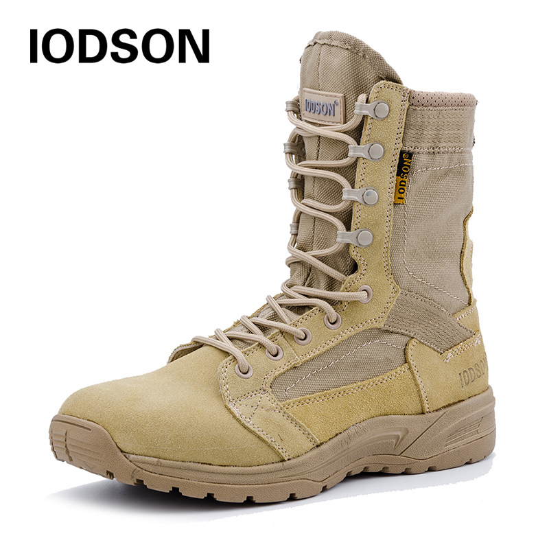 Outdoor Autumn/Winter Military Tactical Boots Men's Breathable Desert Combat Ankle Boots Beige Army Shoes 831