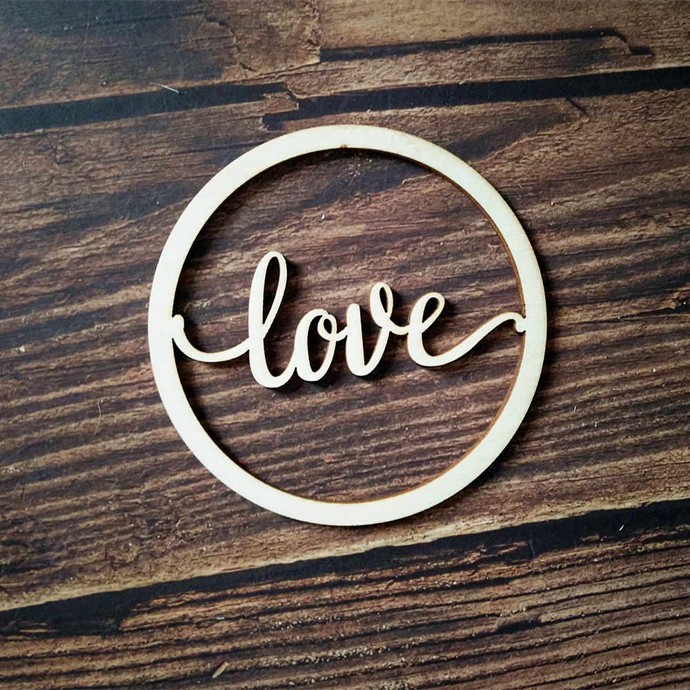 10pcs Wood Love Script Word Sign Laser Cut Unfinished Round Circle Wooden  Greeting Signs Cursive Words Room Wedding Decors