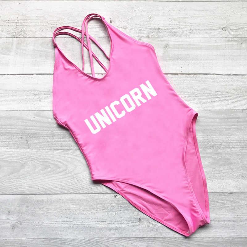 Sexy Girl Verão Unicórnio Uma Peça Carta Impressão Swimwear Rosa Cor Mulheres Bodysuit Swimwear Alta Corte Maiô