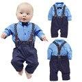 [ Счастливый и счастливый ] мальчик одежда джентльмен soild рубашки с + нагрудники мальчик новорожденный комплект одежды