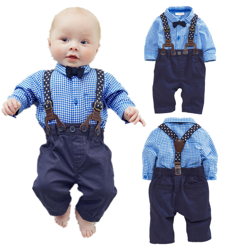 [Lucky & Lucky] baby boy clothes gentleman soild shirts with bow+ bibs baby boy newborn clothing set lucky ff718 licd