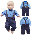 [Lucky & Lucky] baby boy clothes gentleman soild shirts with bow+ bibs baby boy newborn clothing set