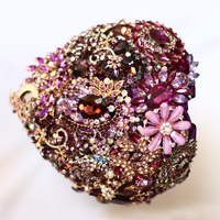 Purple heart shaped brooch bouquet custom wedding supplies jewelry bridal bouquet DIY