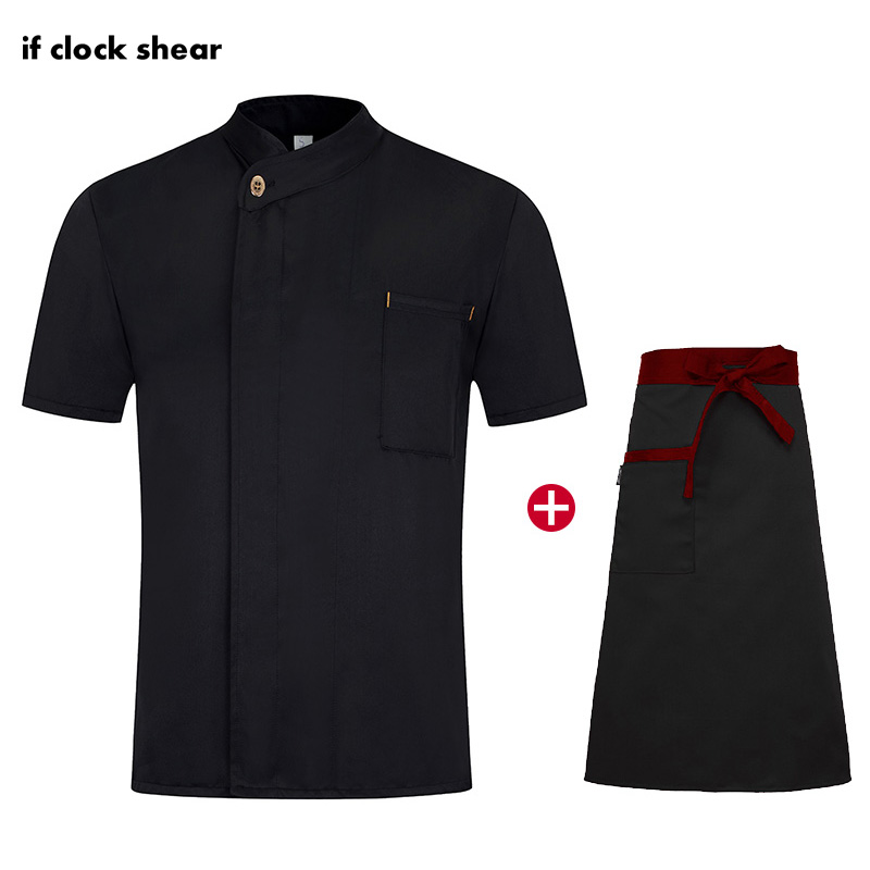 Short Sleeve Unisex Single Breasted Kitchen Catering Casual Soft Chef Jackets Oblique Collar Food Serive Restaurant Work Uniform