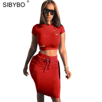 Sibybo Hollow Out Sexy Two Piece Suit Summer Dress Women Bodycon O Neck Knee Length Chic