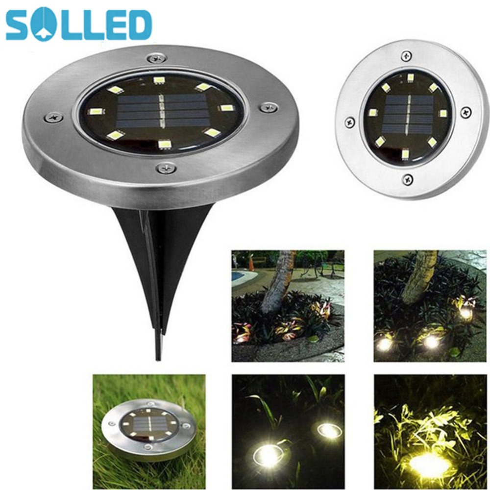 SOLLED Solar Lamp 8 LED Solar-powered Stainless Steel Buried Light Under Ground Lamp Out ...
