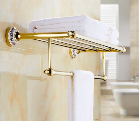 HOT SELLING High Quality Bathroom towel holder with Ceramic Base, Gold Brass towel rack,60cm towel bar,towel shelf new bullet head bobbin holder with ceramic tube tip protecting lines brass copper material