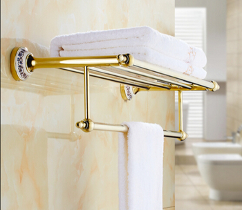 HOT SELLING High Quality Bathroom towel holder with Ceramic Base, Gold Brass towel rack,60cm towel bar,towel shelf