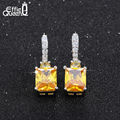 Effie Queen Luxury Platinum Plated Women Wedding Engagement Dangle Earrings with 4ct Big Square AAA Yellow Cubic Zircon DAE017