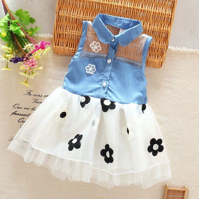 26bbc3e0556 Baby Girl Dress New Time-limited 2018 Baby Girls 0-1-2-3 Years Old Cowboy  Sleeveless Dress Summer Coat Petals Children Mini