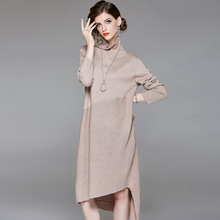 Solid elastic knit turtleneck loose irregular sweater dress 2018 new full sleeve women autumn long