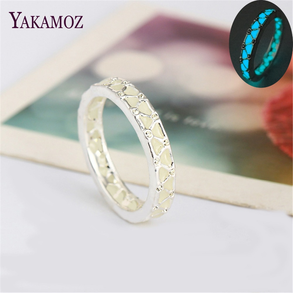 Exquisite New Luminous Ring Glowing In Dark Silver Color Rings For Women  Couple Lovers Vintage Jewelry