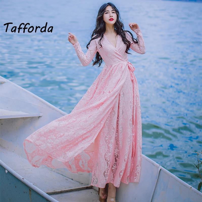 Tafforda 2018 Новый Кружево v-образным вырезом Разделение платье женщина леди Платья для женщин пикантные литературный тонкий элегантный партии ...