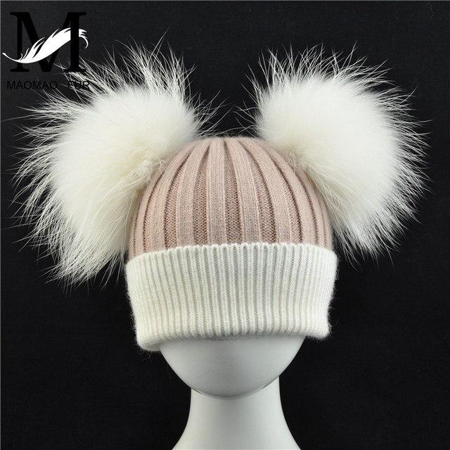 314098e0a27 Baby Winter Real Fur Ball Beanie Hat Warm Cute Fashion Fluffy Real White Big  Raccoon Fur
