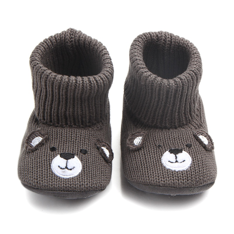 Baby Cute Warm Shoes Lovely Babies Autumn Winter Boots Soft Bear Walkers Knitted Soft Soles Booties