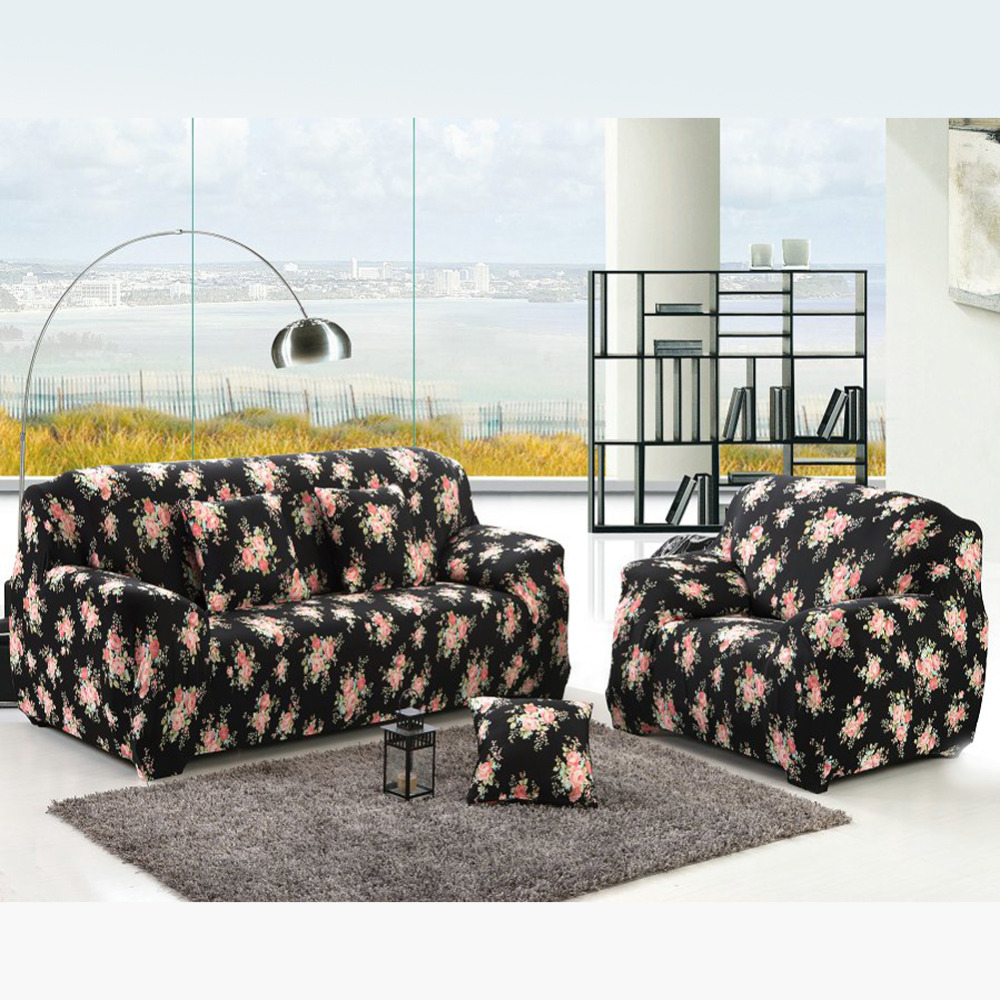 Superb Black Rose Printed Sofa Cover Classic Style All Inclusive Non Slip Sofa  Cover Case