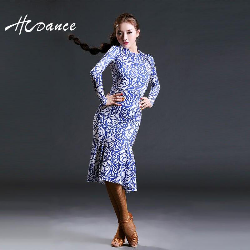 Hcdance 2017 Brand Dancewear Latine Dance Costume Women Long Sleeve Tango Rumba Flamengo Ballroom Dance Dress For Women 398