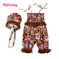 New Style Girl Baby Clothing Sets Rompers Girls Bloomers Pants Floral Retro hat  Original Sling Denim Overalls Clothes w4504544