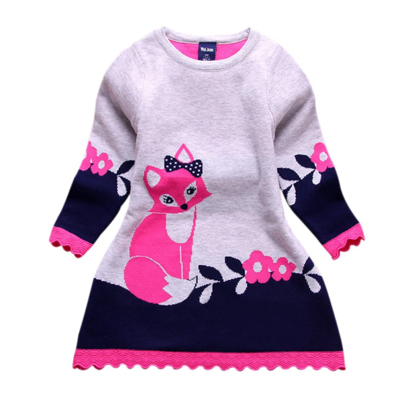 Double-layer Long-sleeve Autumn Spring Kids Fox Clothing Thick Girl Fox Sweater Dress For Children 4-8 Y