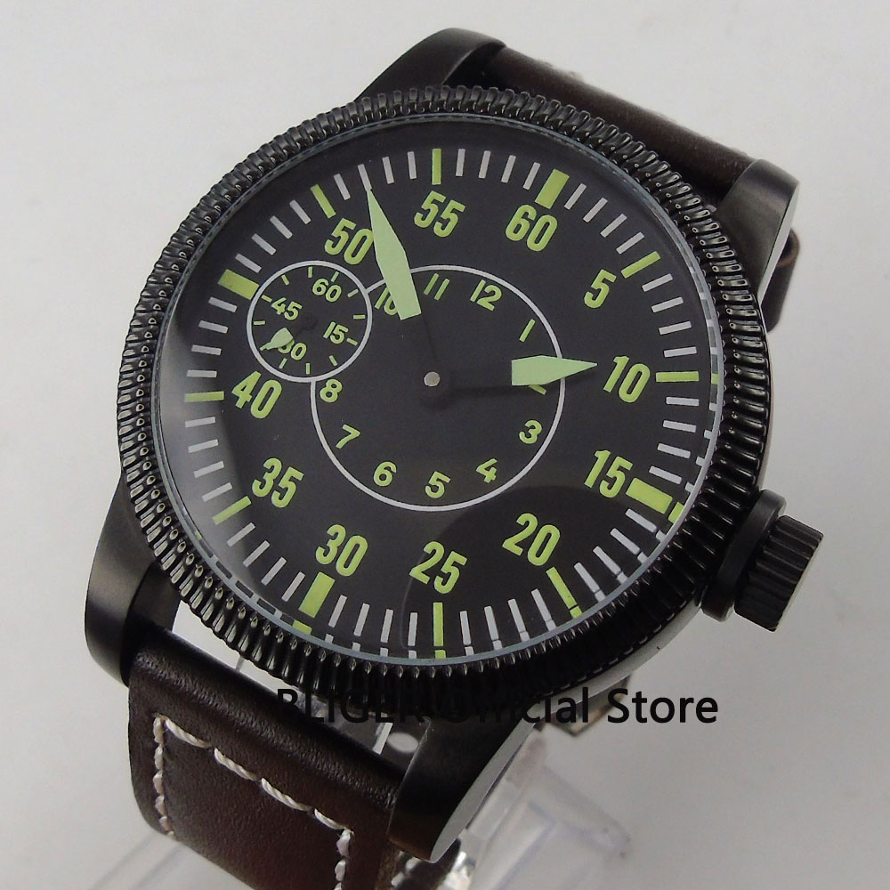 Casual 46MM Black Sterile Dial PVD Coated Case Luminous Marks Mechanical 17 Jewels 6497 Hand Winding Movement Men's Watch BC57 44mm black sterile dial green marks relojes 6497 mens mechanical hand winding watch luminous armbanduhr cm164bk