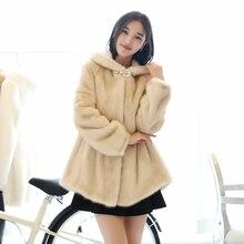100% Real Female Mink Coat Winter Coat With Cap Mink Fur Coat Mink Fur Coat