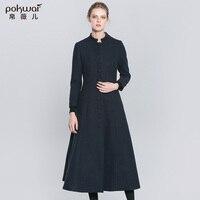 Pokwai شتاء طويل الصوف المعاطف معطف المرأة 2017 الجديدة واحدة الصدر تنورة كامل كم اليوسفي طوق أزرق الإناث ستر